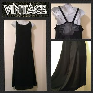 VTG 70s Black Sheer Chiffon Slip Dress Plus Size